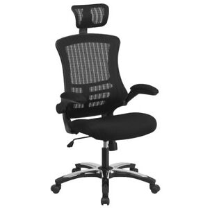 Modern High back Mesh Executive Chair With Headrest And Flip Up Arms