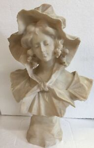 19th C Signed Marble Bust Of Pretty Young Girl