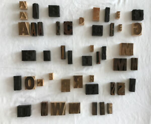Mixed Lot 47 Printing Printer Blocks On Wood Bases Vintage Alphabet Letters