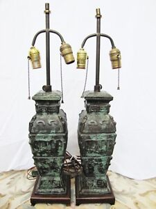 Pair Of Antique Chinese Bronze Vase Lamps