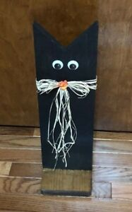 Halloween Mother Black Cat Wood Rustic Primitive Free Standing Decoration