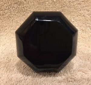 Vintage Black Glass 8 Sided Door Knob Doorknob 2 3 8