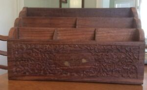 Vintage Hand Carved Wood Letter Box With White Bone Inlay Made In India