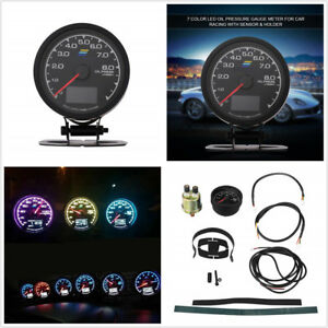 Auto Car 7 Colors Led Lcd Display Oil Pressure Gauge With Voltage Meter 12v 62mm