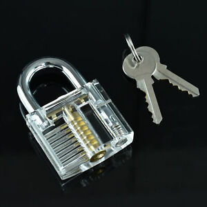 Clear Lock Transparent See through Padlock For Locksmith Practice Training Tool