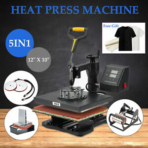 5 In 1 Heat Press Machine For T shirts 12 X 10 Kit Sublimation Swing Away