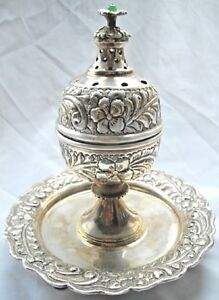 Middle Eastern Egyptian Ottoman Solid Silver Islamic Incense Burner 352gr 12oz