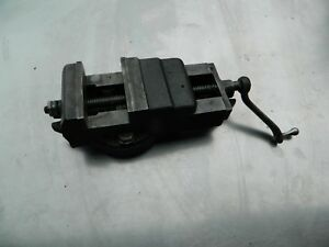 Vintage Atlas Milling Machine Mill Vise With Swivel Base And Crank Handle