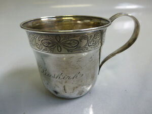 Antique Sterling Silver Monogrammed Baby Cup Youth Mug 1910 20 S