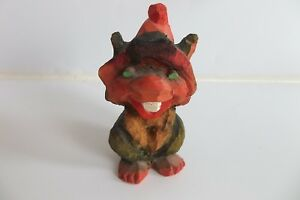 Vintage Hand Carved Wood Troll Henning Norway 3 3 4
