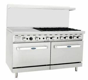 New Heavy 60 Range 24 Griddle 6 Burners 2 Full Ovens Stove Lp Prop Gas Only