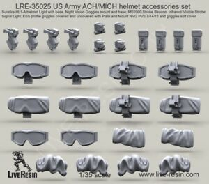 Live Resin 1:35 US Army ACH MICH Helmet Accessory Set - Resin Detail #LRE35025