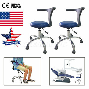 2x Dental Medical Stool Doctor s Stool Adjustable Mobile Chair Pu Leather