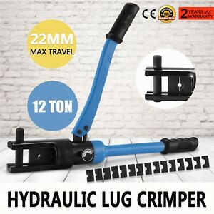 12 Ton Hydraulic Lug Crimper Electrical Terminal Cable Wire Crimping Tool W dies