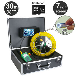 30m 98ft Sewer Waterproof Camera Pipe Pipeline Drain Inspection System 8g Card