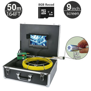 50m 164ft Sewer Snake Camera Pipe Pipeline Drain Inspection Kits 9 Lcd Dvr 8g