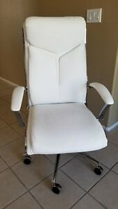 Realspace Office Chair Bonded Leather White chrome Excellent Condition