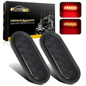 2 6 Inch Oval 6 Red Led Stop Turn Tail Light Smoke Lens Rubber Grommets Plugs