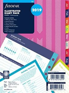 Filofax 19 6353 A5 Stripes Illustrated 2019 Diary Refill Pack
