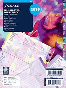 Filofax 19 6351 A5 Floral Illustrated 2019 Diary Refill Pack