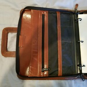 Scully Brown Leather 3 ring Zip Binder Organizer With Drop Handles
