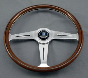 Nardi Classic Wood Steering Wheel 367mm Polished Side Spokes Classic Trim Ring