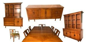 Mid Century Modern Dining Room Set 3 Credenzas 2 Hutches 8 Chairs 6 12 Ft Table