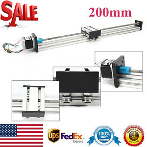 200mm Travel Linear Sliding Guide Rail Guide Sliding Block With Stepper Motor Us