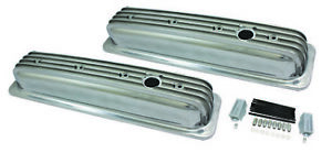 Center Bolt Sb Chevy Short Retro Finned Polished Aluminum Valve Cover 87 95 350