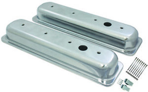 Center Bolt Sb Chevy Short Smooth Polished Aluminum Valve Cover Set 87 95 350
