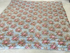 Antique French 18th Century Quilt Bedspread Comforter Chintz Roses Pink Blue