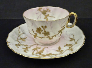 Belleek Demitasse Cup Saucer Antique American Cac Hand Painted