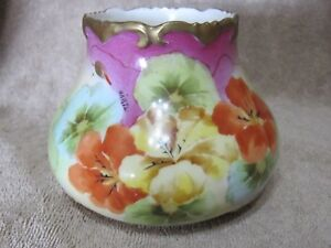 Antique Porcelain And Gold Footed Vase Vienna Hand Painted Gold Gilding