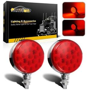 2pc Round 42 Led Red Stop Turn Signal Tail Semi Truck Trailer Fender Stud Lights