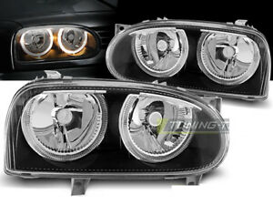 Pair Of Headlights For Vw Golf 3 Iii Mk3 91 97 Halo Rims Black Depo Ca Lpvw29wd