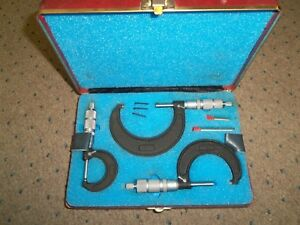 Vtg Central Tool Company Co Three 3 Piece Micrometer Set With Case 0 1 1 2 2 3
