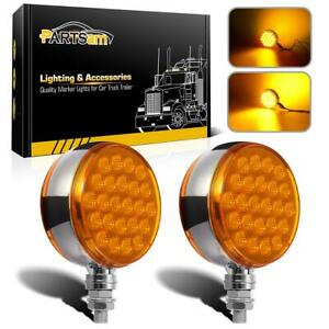 2x Amber Lens 4 Round Dual Face Stud Miro reflex 48led Pedestal Turn Tail Light