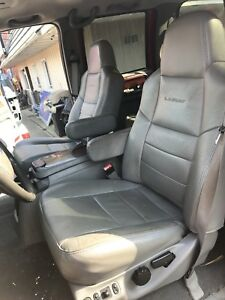 99 07 Ford F250 F350 Front Rear Grey Leather Lariat Seats Console Power Oem