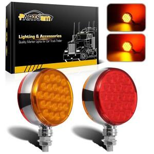 Set 2 Red Amber 4 Round Dual Face Stud Pearl 48 Led Pedestal Lights W Reflector