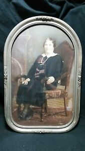 Eastlake Like Curved Glass Gray And Silver Frame And Antique Picture