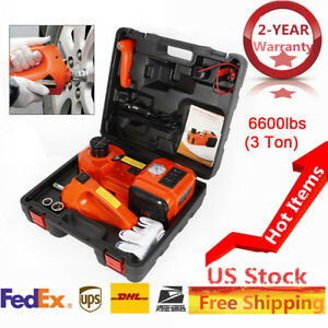 3t Electric Hydraulic Jack Inflator Pump Wrench 3 In 1 Tool Kit With Tool Case