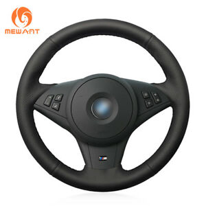 Hand Black Artificial Leather Steering Wheel Cover For Bmw E60 M5 E63 E64 Cabrio