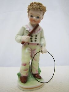 Antique German French Porcelain Young Boy W Hula Hoop Figurine