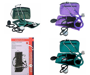 Blood Pressure Kit And Sprague Stethoscope Adult Medical Monitor Cuff Gauge New