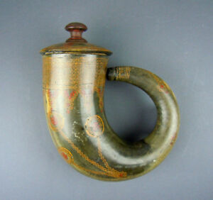 Larger Antique Arabic Islamic India Indian Inlaid Powder Horn Flask Mughal 19th