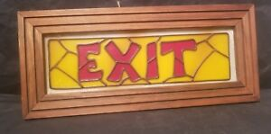 Vtg Stained Wood Framed Glass Exit Sign Deco Theater 13 X 8 Nice