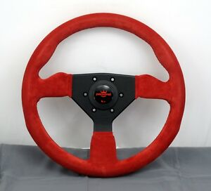 Personal 330mm Grinta Steering Wheel Red Suede With Red Stitching Black Spokes