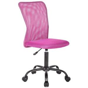 Ergonomic Mesh Chair Computer Office Desk Midback Task Chair Metal Base Pink Bts