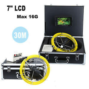7 Lcd Pipeline Drain Pipe Sewer Video Inspection Camera 30m Track 12 Led Light