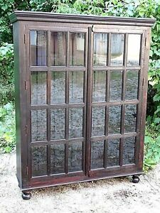 Edwardian Style Mission Arts Crafts Large Double Door Tall Bookcase Cabinet